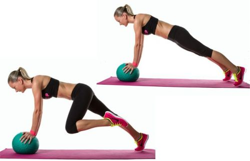 mountain climbers with a medicine ball