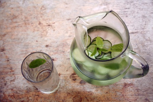 Minty cucumber lime water